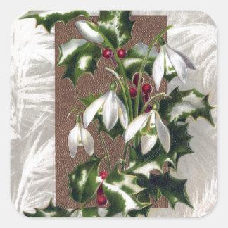 Snowdrops und Stechpalmen-Vintages Weihnachten Quadratischer Aufkleber