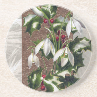 Snowdrops und Stechpalmen-Vintages Weihnachten Untersetzer