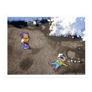 snowfight postkarte