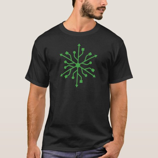 Snowflake Geek - Green USB T-Shirt