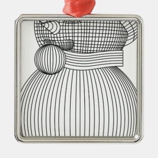 snowman-2 quadratisches silberfarbenes ornament