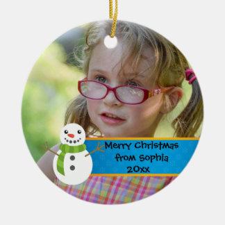 Snowman auf blauem und rotem frohe Weihnacht-Foto Keramik Ornament