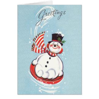 Snowman auf Schnee-Disc Karte