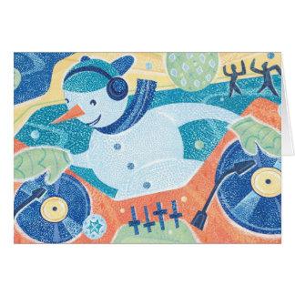 Snowman DJ-Weihnachtstanz-Party Karte