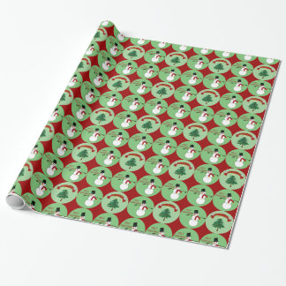 Snowman-FriedensLiebe und -freude Geschenkpapier