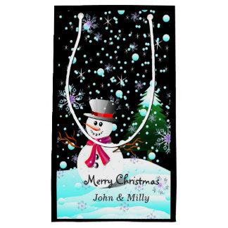 """Snowman """"frohe Weihnachten"""" personalisiert Kleine Geschenktüte"""