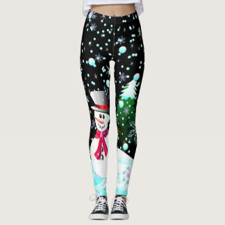 "Snowman ""frohe Weihnachten"" personalisiert Leggings"