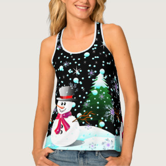 """Snowman """"frohe Weihnachten"""" personalisiert Tanktop"""