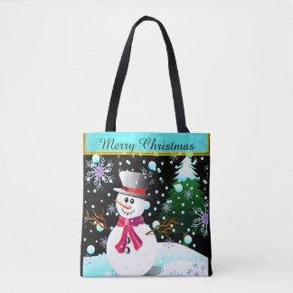 """Snowman """"frohe Weihnachten"""" personalisiert Tasche"""