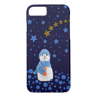 Snowman, funkelnd blaue Sterne auf Blau iPhone 8/7 Hülle