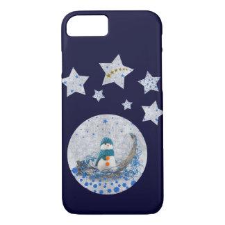 Snowman, funkelnd blaue Sterne, Gold ist auf Blau iPhone 8/7 Hülle