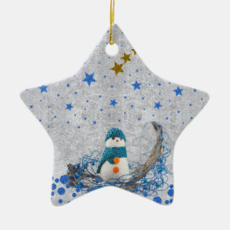 Snowman, funkelnd blaue Sterne, Gold ist in der Keramik Ornament