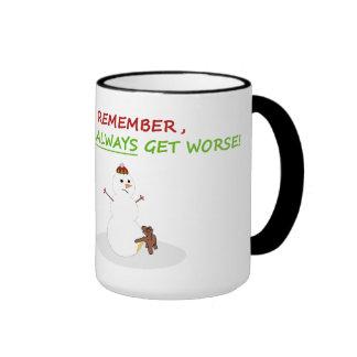 Snowman-lustige WeihnachtsTasse Ringer Tasse