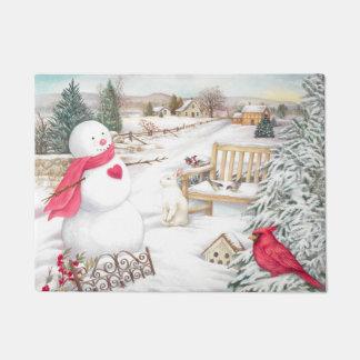 Snowman mit Kardinals-u. Schnee-Häschen im Garten Türmatte