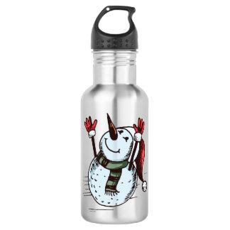 Snowman mit Weihnachtsmannmütze - Karotten-Nase - Edelstahlflasche