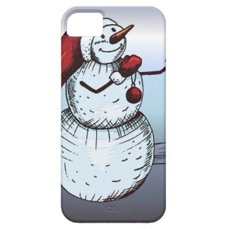 Snowman mit Weihnachtsmannmütze-und Karotten-Nase iPhone 5 Etui