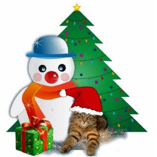 Snowman-u. Sankt-Katzen-WeihnachtsFoto-Skulptur Fotoskulptur Ornament