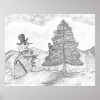 Snowmangrayscale-Bleistift, der Weihnachtsszene ze Poster
