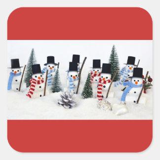 Snowmen-WeihnachtsWiedersehen-glatte quadratische Quadratischer Aufkleber