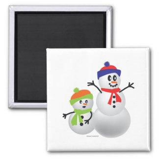 Snowmom u. Baby Quadratischer Magnet