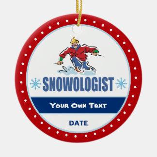 Snowologist lustiges Schnee-Skifahren Keramik Ornament
