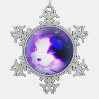 Snowshoefarbe durch Zahl-Miezekatze Schneeflocken Zinn-Ornament
