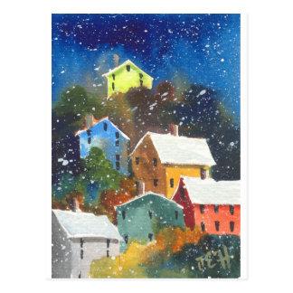 Snowy-Abhang-Häuser Postkarte