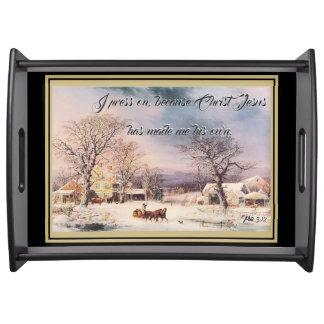 Snowy-Bauernhaus-Jesus-Bibel-Presse auf Tablett