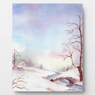 Snowy-Brücken-Aquarell-Landschaftsmalerei Fotoplatte