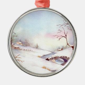 Snowy-Brücken-Aquarell-Landschaftsmalerei Rundes Silberfarbenes Ornament