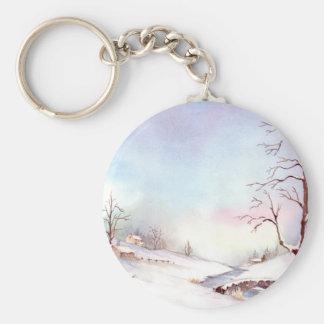 Snowy-Brücken-Aquarell-Landschaftsmalerei Schlüsselanhänger