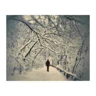 Snowy-Einsamkeit Holzleinwand