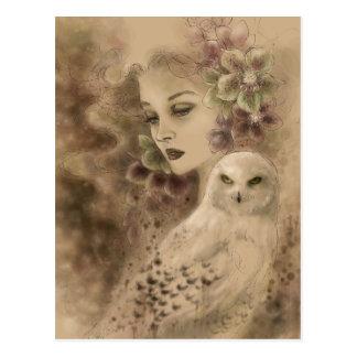 Snowy-Eulen-Fantasie-Kunst-Postkarte Postkarte