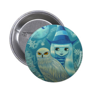 Snowy-Eulen-Hexe-Knopf Runder Button 5,7 Cm