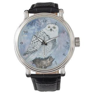 Snowy-Eulen-Tier-Kunst im Aquarell Uhr