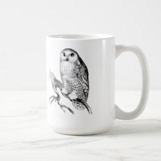 Snowy-Eulen-Vintager hölzerner Stich Kaffeetasse