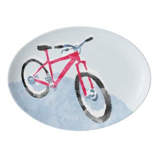 Snowy-Fahrrad-Umhüllungs-Servierplatte Porzellan Servierplatte