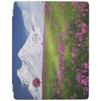 Snowy-Gebirgsgras-lila Blumen-Landschaft iPad Hülle
