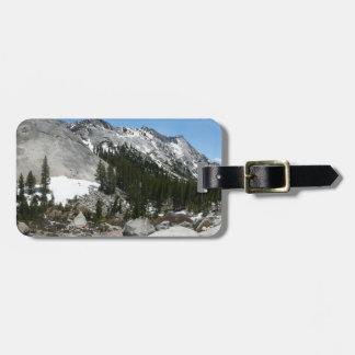 Snowy-Granit wölbt sich Panorama bei Yosemite Gepäckanhänger