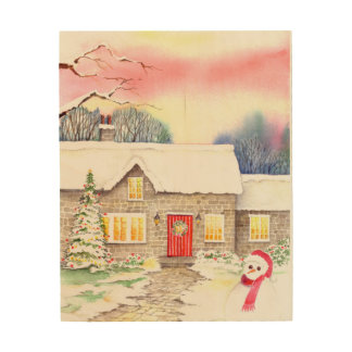 Snowy-Hüttewatercolor-Malerei Holzleinwand
