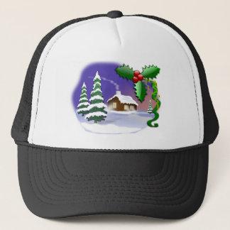 Snowy-Kabine mit Bäumen Truckerkappe