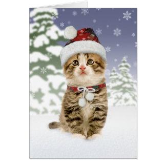 Snowy-Kätzchen-Weihnachtskarten Karte