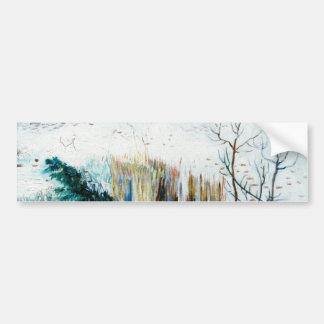 Snowy-Landschaft mit Arles im Hintergrund Autoaufkleber