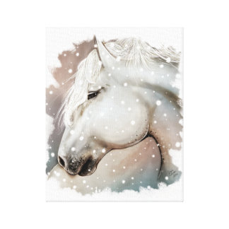 Snowy-Pferd auf Cavas Leinwanddruck