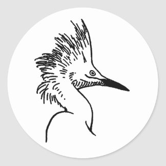 Snowy-Reiher-Illustration Runder Aufkleber