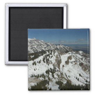 Snowy-Spitzen der großartigen Fotografie Teton Quadratischer Magnet
