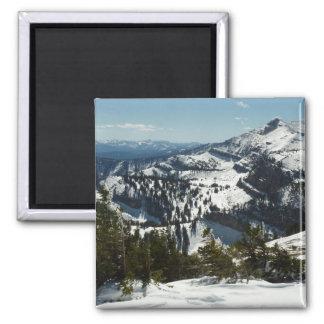 Snowy-Spitzen des großartigen Fotos Teton Bergii Quadratischer Magnet