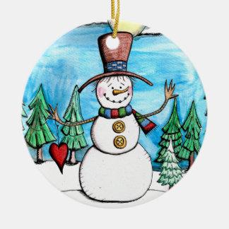 Snowy-TagesSchneemann-Weihnachtsverzierung Rundes Keramik Ornament