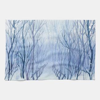 Snowy-Weg im Holz Küchentuch