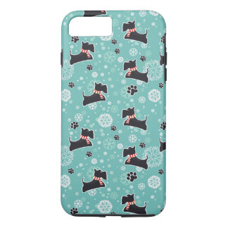 Snowyscottie-Hundeweihnachtsmuster iPhone 8 Plus/7 Plus Hülle